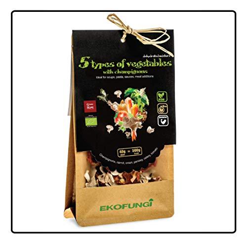 Ekofungi Premium Mix Dehydrated Mushrooms and 5 Types of Veggies 100% O…