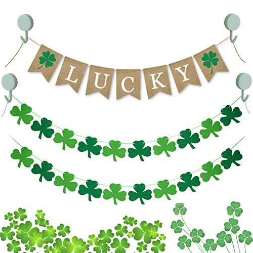 7-Pack St. Patrick's Day Decorations - Shamrock Banners Garland with Luck…