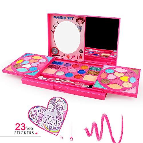 AMOSTING Juguete de maquillaje real para niñas lavable Set de cosméticos P…