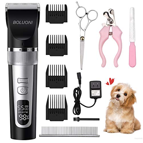 BOLUONI Dog Shaver Clippers Professional Dog Grooming Clippers Low Noi…