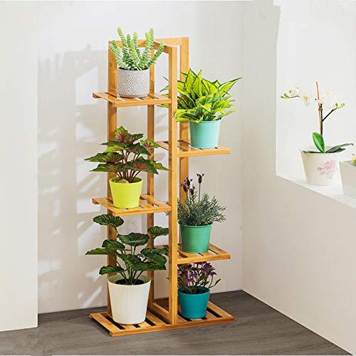 Estante de bambú para plantas de varios niveles para interiores y exteriores
