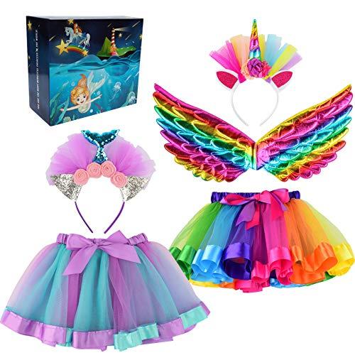 Cocojeci 2 niñas arco iris tutú falda con ala