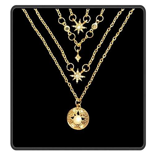 Ebrand - Gargantilla de 4 cadenas chapada en oro de 14 quilates con colgante de…