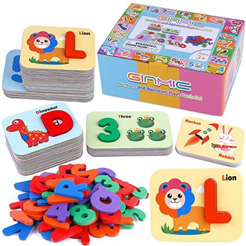 GINMIC - Juego de cartas de alfabeto y números de madera con letras ABC y ro…
