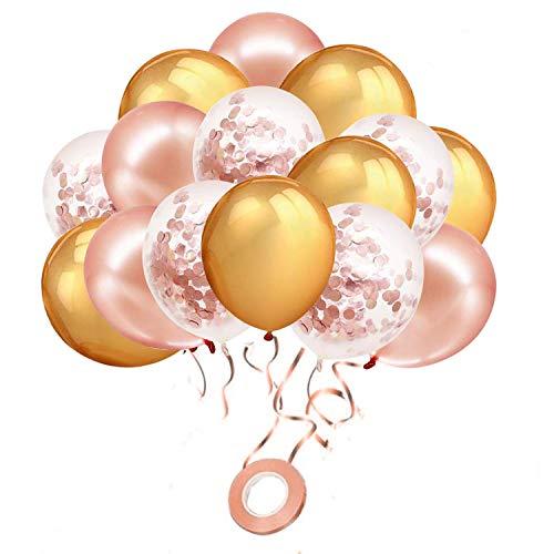Globos de confeti de oro rosa