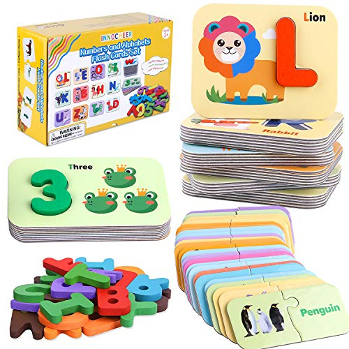 INNOCHEER Juego de tarjetas flash de números y alfabetos
