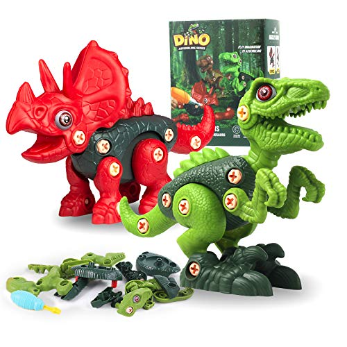 Juego de 2 juguetes de dinosaurio para niños con herramientas
