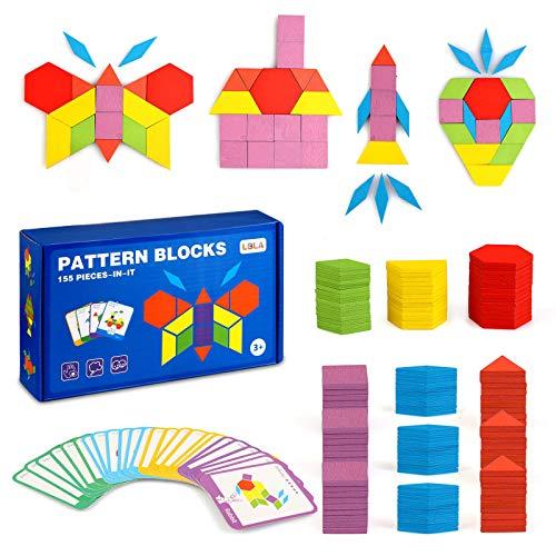 LBLA 155 piezas de bloques de madera con forma geométrica rompecabezas…