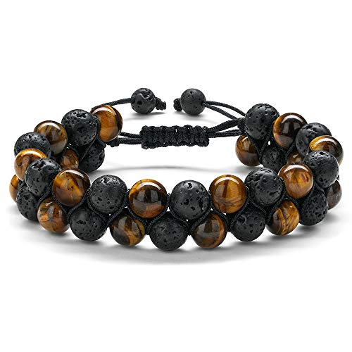 MONOZO Beaded Bracelets for Men Women - 8mm Tiger Eye Bead Bracelet Adjustab…