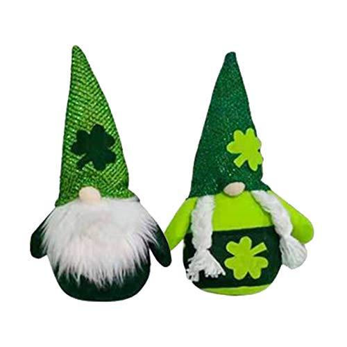 Muñeca de peluche San Patricio Día Adornos Lrish verde trébol sin rostro muñ…