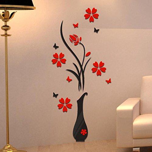 Murales de pared de florero 3D para sala de estar