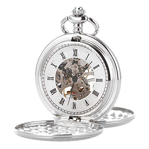 Reloj de bolsillo – Caja doble lisa SIBOSUN Movimiento mecánico esqueleto plata c…