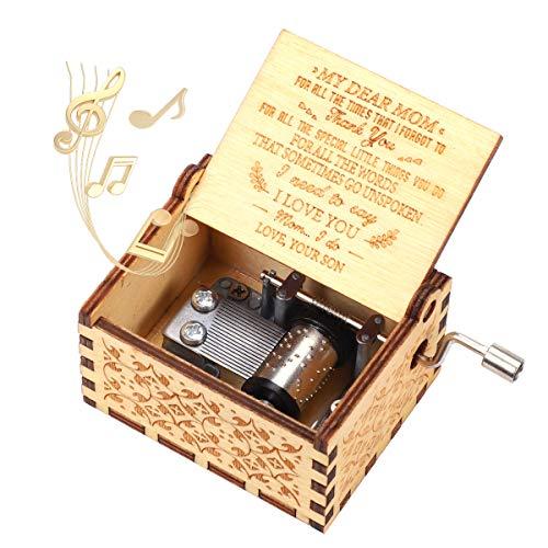 """SIBOSUN - Caja de música con manivela de mano grabada con mecanismo """"U…"""