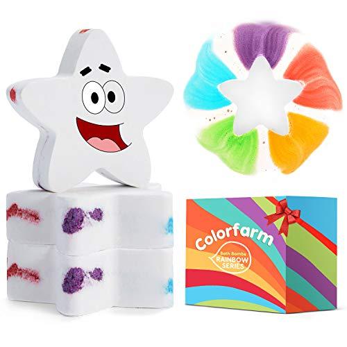 Set de 3 bombas de baño con burbujas de arco iris y aceite esencial