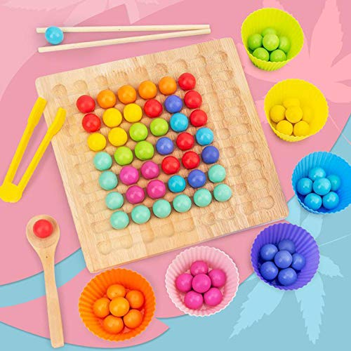Wooden Peg Board Beads Game Puzzle Color Sorting Stacking Art Toys for Toddl…